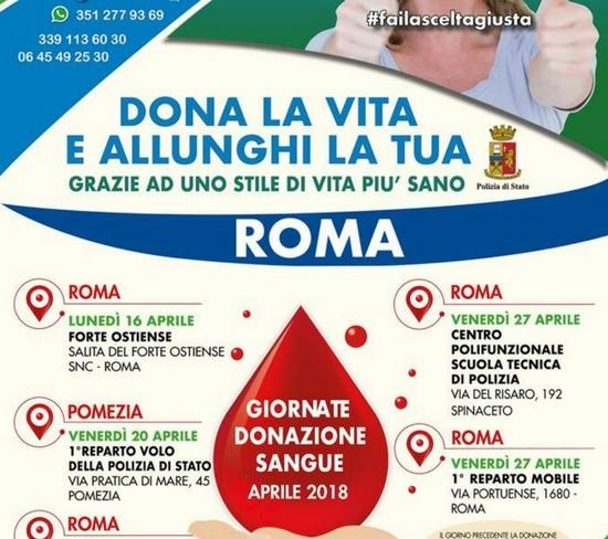 ADVPS. Giornate donazione sangue. Aprile 2018
