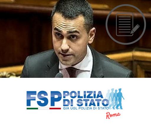 Lettera al Ministro Di Maio per problematiche a carattere previdenziale che riguardano il personale della Polizia di Stato