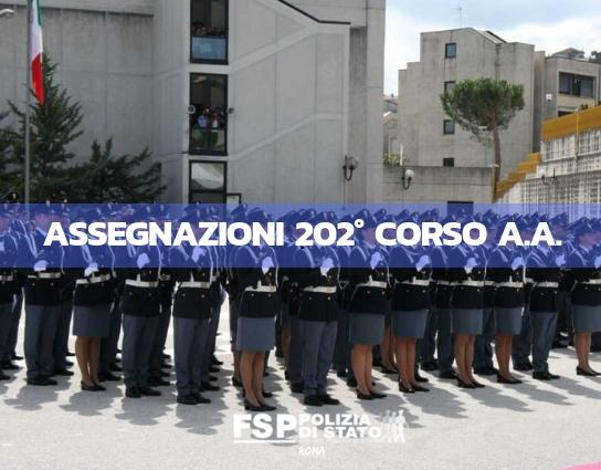 Assegnazioni 202° corso allievi agenti. La tabella