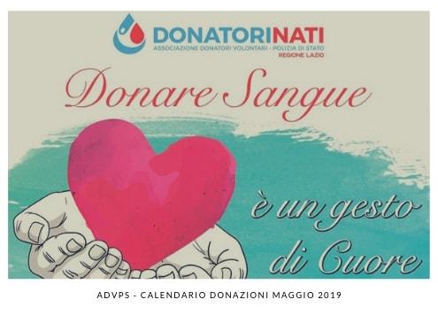 ADVPS – GIORNATE DI DONAZIONE SANGUE MAGGIO 2019