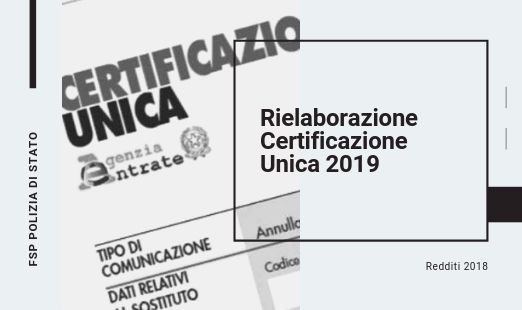 Rielaborazione Certificazione Unica (C.U.) 2019 — Redditi 2018.