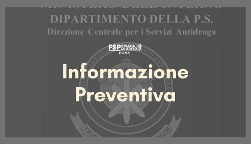 Direzione Centrale per i Servizi Antidroga. Informazione preventiva concernente l'orario da applicarsi in occasione del convegno sulle politiche antidroga che si terrà a Roma in data 20-21 febbraio 2020.