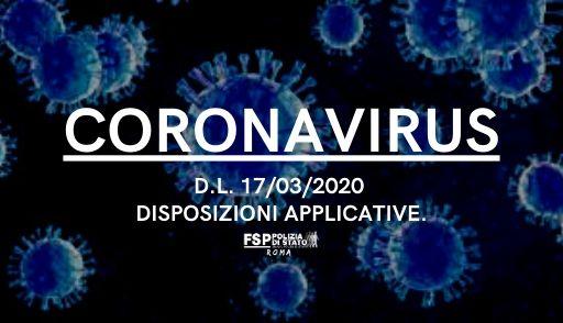 Polmonite da nuovo coronavirus (COVID-19) — decreto-legge 17 marzo 2020, n. 18. Disposizioni applicative.