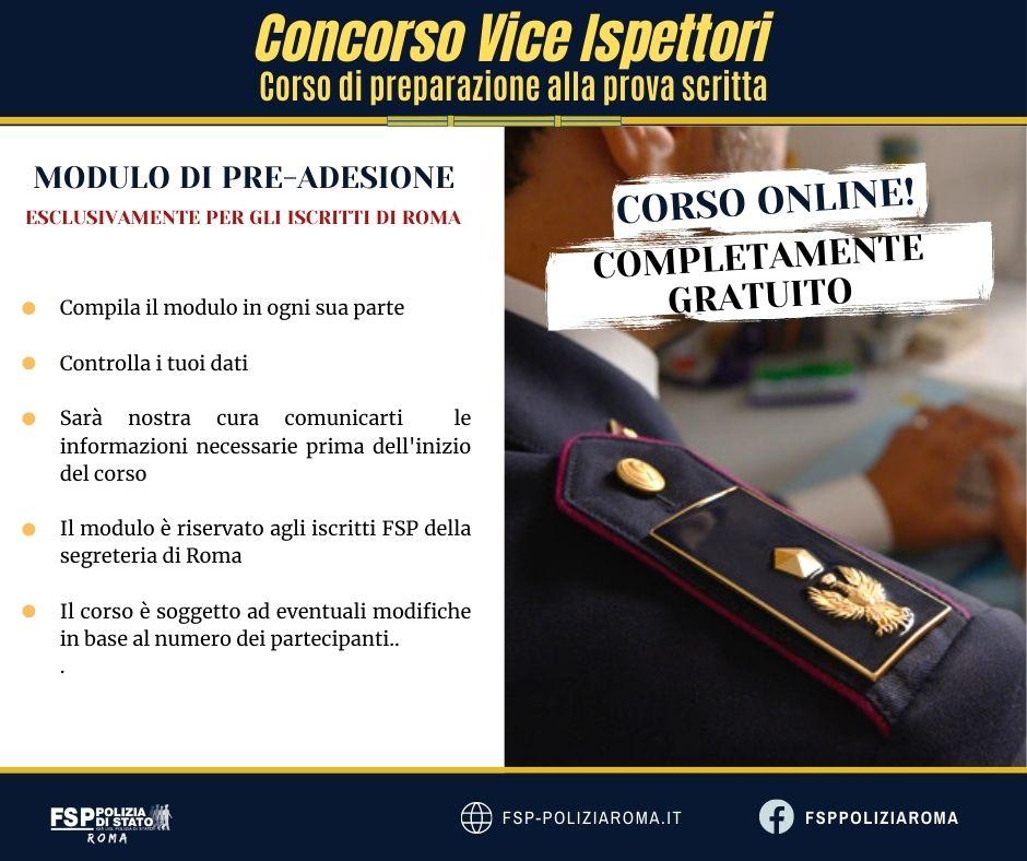 Corso di preparazione alla prova scritta del concorso da vice ispettore.