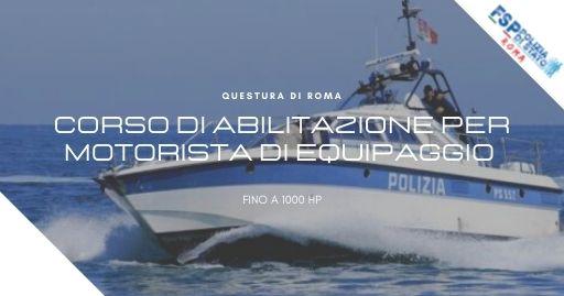 22° CORSO DI ABILITAZIONE PER MOTORISTA DI EQUIPAGGIO FISSO DI NAVIGAZIONE FINO A 1000 HP.